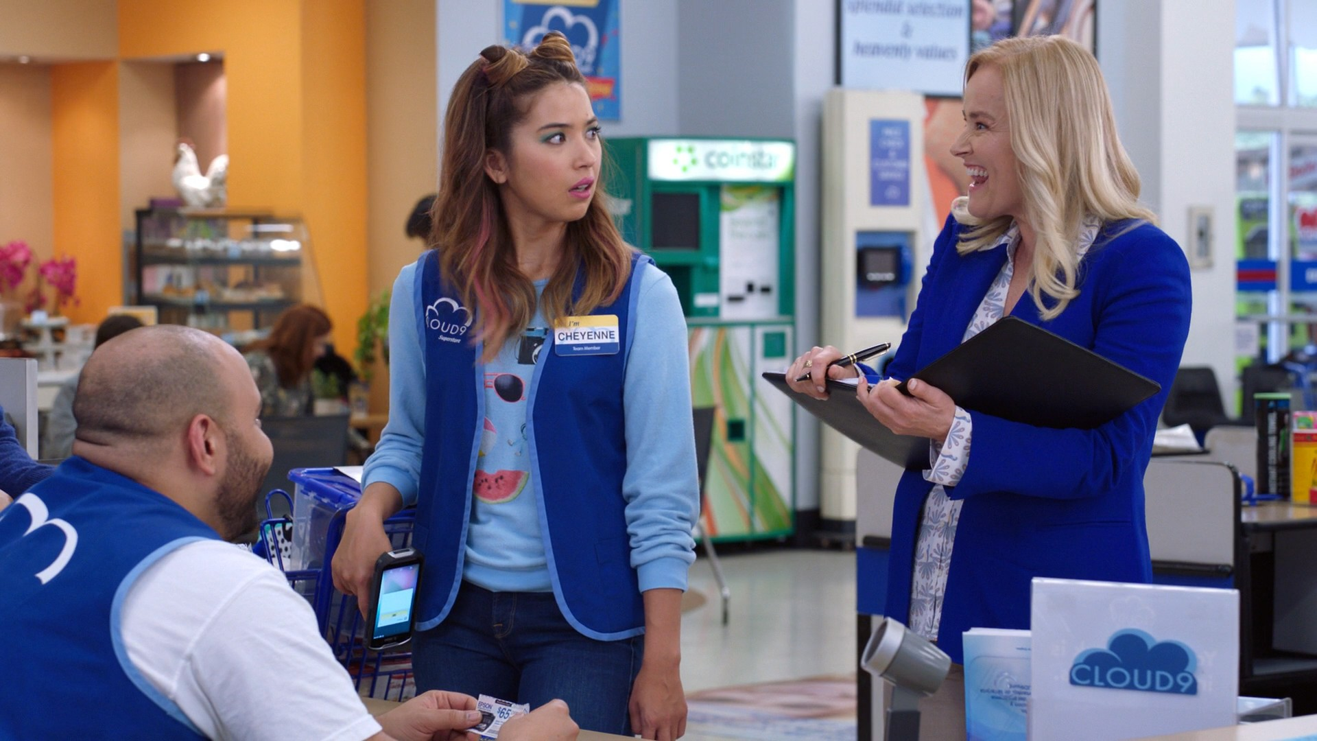 America Ferrera Black Jeans, Nichole Bloom Blue Jeans- Superstore S03E17