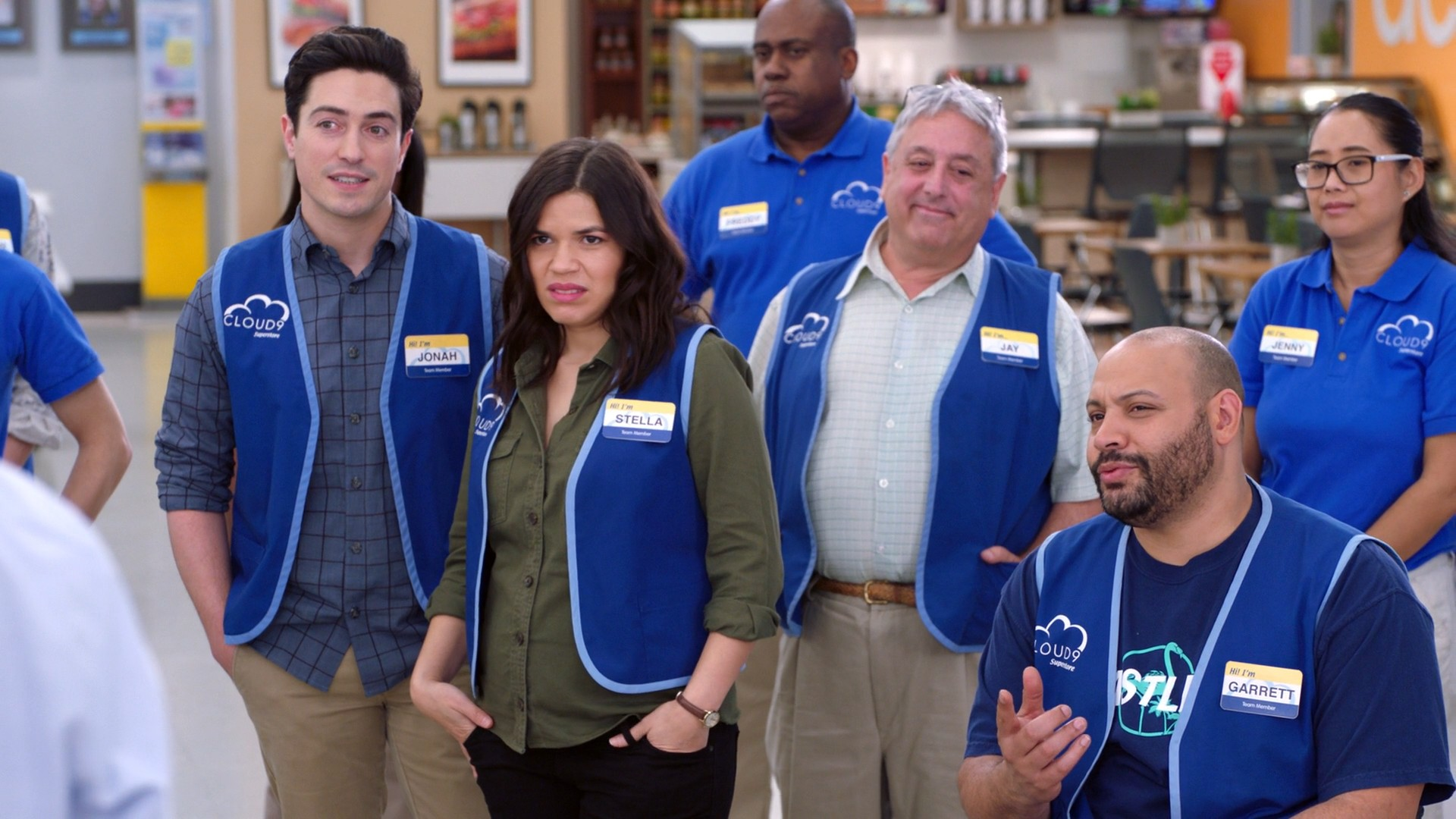 America Ferrera, Kelly Stables, Nichole Bloom Blue Jeans- Superstore S03E18